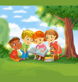 cute children reading books vector image