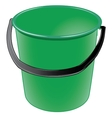 Green plastic bucket with a black handle vector image