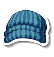 a sticker template with blue beanie hat isolated