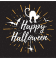 Black Halloween background with silhouette of cat vector image vector image