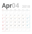 calendar planner april 2018 week starts sunday vector image vector image