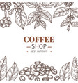 coffee shop poster drawing leaves hand drawn vector image vector image