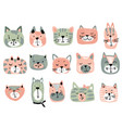 collection of colorful cat faces funny vector image