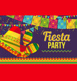 colorful design of fiesta party card vector image vector image