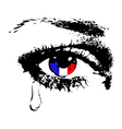 Crying eye with flag of France vector image vector image
