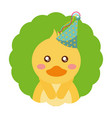 cute duck birthday party hat vector image vector image