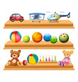 different types of balls and toys on shelves vector image vector image