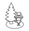 dog with christmas tree vector image
