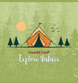 explore nature card camping tent in forest vector image