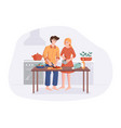 family prepares dinner together at kitchen vector image vector image
