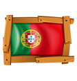 flag of portugal on wooden frame vector image vector image