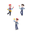 flat french culture fashion people set vector image vector image