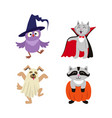 flat halloween dressed up animals set vector image vector image