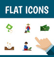 flat icon plant set of florist seed packet and vector image