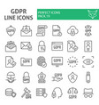 gdpr line icon set general data protection vector image vector image