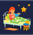 girl reading before bed - colorful flat design vector image