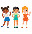 group three children girlfriends of different vector image vector image