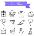 Hand draw element new year icons vector image