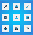 industrial icons colored set with electrical board vector image vector image