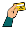 isolated hand credit card vector image vector image
