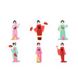 japanese girls in traditional clothes set vector image vector image