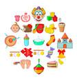 kid welfare icons set cartoon style vector image vector image