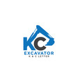 letter k and c initial excavator vector image