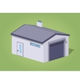 Low poly closed white garage vector image vector image