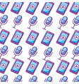 microphone and smartphone audio pattern background vector image