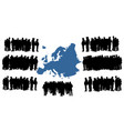 migration refugees go to europe map silhouette vector image