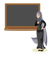muslim woman teacher standing in front of vector image vector image