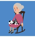 old lady woman senior with cat sleeping in her lap vector image vector image