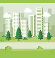 park with pines trees and bushes with building vector image