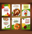 realistic turkey thanksgiving day banner set vector image vector image