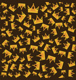 seamless gold crown pattern on dark background vector image vector image