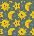 seamless pattern with cute smiling sun vector image vector image
