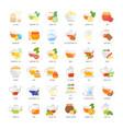 set flat icons tea ceremony vector image vector image