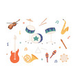 set percussion wind brass and stringed music vector image