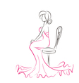 Silhouette of young elegant woman sitting on chair vector image