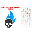 skull fire icon with bonus fire collection vector image