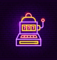 slot machine neon sign vector image vector image