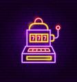 slot machine neon sign vector image