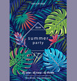 summer party text with frame palm vector image vector image