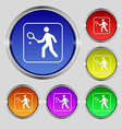 Tennis player icon sign Round symbol on bright vector image