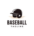 vintage baseball logo with batting helmet icon vector image vector image