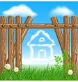 Wooden fence with clouds house vector image