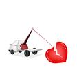 Wrecker Tow Truck Pulling A Red Broken Heart vector image