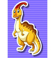 Yellow dinosaur on purple background vector image vector image
