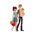 Young couple buying food at grocery store vector image vector image