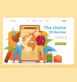 young people plan their trip on vacation flat 2d vector image